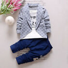 2pcs Kids Baby Boy Gentleman Suit Coat Long Sleeve Check Tops +Pants Outfits AY