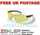 Zekler 15 Safety Protective Glasses PPE Yellow Clear Anti Fog Scratch Resistance