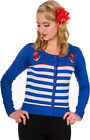 Banned PRIVATE PARTY Anchor ANKER Streifen Cardigan STRICKJACKE Blau Rockabilly