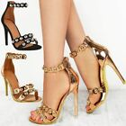 Womens Ladies Stud Ankle Strappy Barely There Sandals High Heels Shoes Size