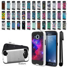 For Samsung Galaxy J2 J210 2nd Gen Shockproof Brushed Hybrid Cover Case + Pen