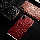 Luxury For iPhone X 10, Plating Frame Crocodile Leather Magnetic Back Case Cover
