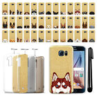 For Samsung Galaxy S6 G920 Dog Design Slim Sparkling Gold TPU Case Cover + Pen