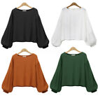 Oversized L-4XL Womens Ladies Pure Color Puff Long Sleeve Tops Crew Neck Blouse