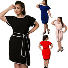 PLUS S-6XL Womens Ladies Pure Color Belted Pencil Party Dress Puff Short Sleeve