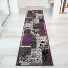 Modern Purple Grey Patchwork Hallway Runner Rug Soft Long Narrow Rugs For Hall