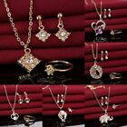 Women Crystal Rhinestone Necklace Earrings Ring Wedding Party Lady Jewelry Set