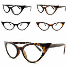 Cat Eye Pointy Black Tortoise Clear Lens Glasses Rockabilly Women