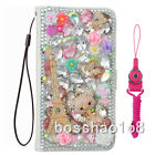 Luxury Pu Leather Flip Bling Diamond Wallet Case Girls' Phone Cover & Strap #t19