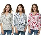Women Casual V Neck Roll Up Sleeve Floral Print High Low Hem Blouse Tops B20E