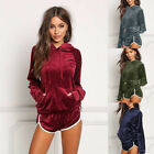 Lady Girl Sportswear Velvet Sports Suit Hooded Casual Tracksuits Pullovers