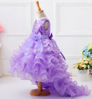 Long tail Flower girls kids baby bridesmaid tutu pageant prom dress dresses gown