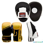 Curved Focus Pads Mitts with Boxing Gloves Hook and Jab Punch Bag Kick Set MMA