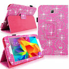 For Samsung Galaxy Tab 3 4 Bling Glitter PU Leather Case Flip Stand Smart Cover