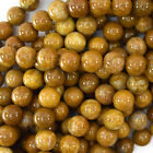 """Gold Brown Wood Agate Round Beads Gemstone 15"""" Strand 6mm 8mm 10mm 12mm"""