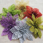 10Pcs Glitter Christmas Hollow Flowers Xmas Trees Ornaments Wedding Party Decors