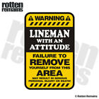 Lineman Warning Yellow Decal Electrician Hard Hat Window Gloss Sticker HGV