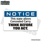 State Allows Concealed Carry Decal 2nd Amendment Gloss Sticker HGV