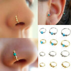 1xStainless Steel Nose Ring Turquoise Nostril Hoop Nose Earring Piercing Jewelry image