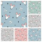 Mousey Love Sweatshirt Jersey Cotton Fabric Dressmaking - Mice - Pink Blue Grey