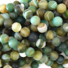 "Matte Brown Green Stripe Agate Round Beads 15"" Strand 4mm 6mm 8mm 10mm 12mm"