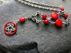 GEMSTONE CORAL ANGEL WING PENTACLE necklace bracelet esrrings