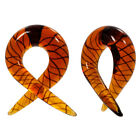 PAIR OF 2 Yellow Striped Pyrex Glass Curved Piercing Plugs Choose Gauge Size