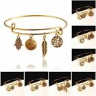 Gold Plated Pendant Charm Bracelet Bangle Friendship Tree Of Life Women Jewelry