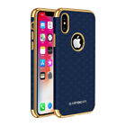 For iPhone X 10, Luxury Hybrid Leather Business Magnetic Soft Back Case Cover