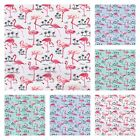 FLAMINGOS AND PALM TREES 100% COTTON POPLIN FABRIC ivory blue mint