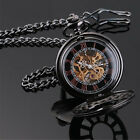 Black Antique Mechanical Skeleton Steampunk Women/Mens Pocket Watch Gift Chain image