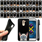 "For Huawei Honor 6X Mate 9 Lite 5.5"" Cat Design Black SILICONE Case Cover + Pen"