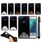 "For Google Pixel 5"" HTC Dog Skins Design TPU Black SILICONE Case Cover + Pen"