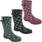 TOSH Wellingtons Dog Paw Black Half Calf Wellies Womens Originals Winter Boots