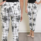 Black Floral Ankle Grazer Patterned Cotton Jeans Trousers Size 8