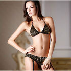 Punk Golden Black Dancing Shiny Sequin Push Up Bra Black Bikini Sets Suspenders