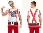 Adult size  Christmas Tattoos & Suspenders T Shirt Your Mom Likes My Package fnt