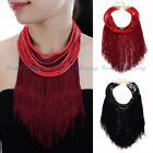 New Women Jewelry Fringe Strand Resin Tassel Choker Statement Pendant Necklace
