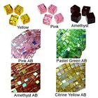 WHOLESALE GLASS BEADS SQUARE CUBE 7 COLORS GREEN AB PINK AB YELLOW AB 6MM OR 4MM
