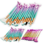 15PCS Mermaid Tail Makeup Brushes Set Foundation Blusher Eyeshadow Cosmetic YG