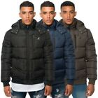 Kangol Mens Casual Quilted Zip Up Puffer Hooded Jacket Solid Cuffed Branded Coat