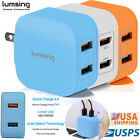 Lumsing Multi 5 Port USB Wall Charger Adapter 40W QC 2.0 Portable For Cellphones