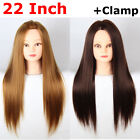 """22"""" Salon Hairdressing Training Practice Mannequin Head Synthetic Hair+Clamp"""