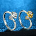 Valentines Crystal Lovers Couple Promise Rings Crown Open Adjustable Band Ring