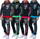 Men Neon Colors Jogging Suit Running Jacket Trousers trackies sports pants F