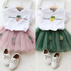 2PCS Kids Baby Girls Lace Princess Dress Tutu Skirt+T-shirt Tops Outfits Set US
