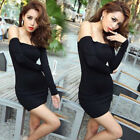 Evening Party Cocktail Short Dress Women Long Sleeve Boat Neck Bodycon O6658
