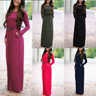 Long Sleeve Womens Casual Evening Cocktail Party Dresses Boho Cotton Blend O6659