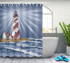 lighthouse in the sea Shower Curtain Fabric Waterproof Bathroom 12 Hooks 5723