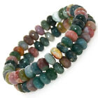"""New A++ 5x8mm Faceted Roundlle Beads Bracelet Jewelry 7""""-8.5"""""""